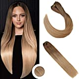 Ugeat 14 Pouces Extension a Clip Cheveux Naturel Clip in Remy Human Hair Extensions Balayage Color Light Brown Omber avec Dark Golden Blonde