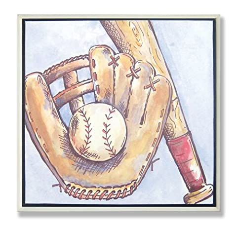 The Kids Room by Stupell Baseball Glove, Bat and Ball Square Wall Plaque