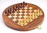 """Ages Behind Wooden Round Folding Chess with Magnetic Chess pieces Travel Game Dia 7"""" Travelling Games for Kids"""