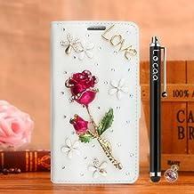 "Locaa(TM) For Alcatel OneTouch Idol 3 5.5"" Idol3 Rosa 3D Bling Case Funda 3 IN 1 Accesorios Protector Phone Cover Cas Shell Caso Alta Calidad Piel Cuero Para Bumper [Rosa 1] Blanca - Rosa Rose"