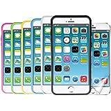 kwmobile 8in1 Set: 6x TPU Silikon Bumper Hülle für Apple iPhone 4 / 4S - Protection Rahmen Schutzhülle mit Aluknöpfen in schwarz, weiß etc. + 1x Folienset, kristallklar
