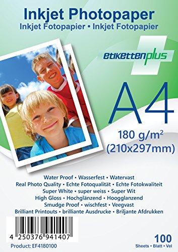 EtikettenPlus Ltd Fotopapier, 100 Blatt, EF4180100, A4 (210x297 mm) 180g/qm glänzend (glossy), wasserfest, sofort wischfest für alle Tinten- und Fotodrucker - Fotopapier