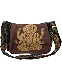 Guru-Shop Schultertasche, Hippie Tasche, Goa Tasche Ganesha - Grün, Herren/Damen, Baumwolle, 23x28x12 cm, Alternative Umhängetasche, Handtasche aus Stoff