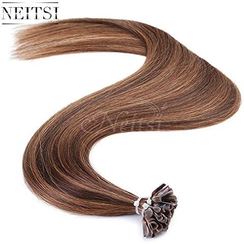 Neitsi® 40,64 cm 50,8 cm 60,96 cm 25S para el pelo/mucho más pre-con goma color negro y blanco de punta de disco de corte recto de la fusión 100% con goma digital con punta de extensiones de pelo de