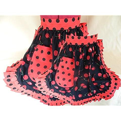 'Fabrique Creations–Madre y hija Juego–Retro Vintage 50s Estilo Media delantales–Negro y Rojo Cerezas (Cherry) con ribete de lunares, color rojo y negro (fc055mdh)