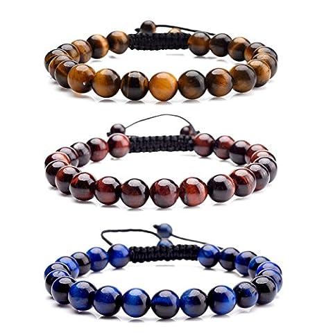 JSDDE Men's Women's Handmade Macrame Tassels Natural Reiki Healing Energy Crystal Stone Beads Adjustable Bracelet Set (Black Agate+Red Tiger Eye Stone+Blue Tiger Eye Stone)