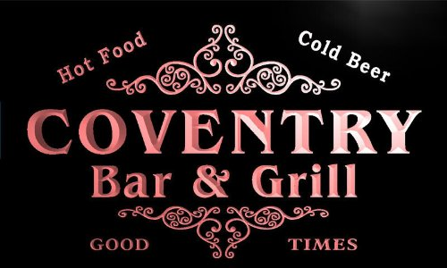 u09332-r COVENTRY Family Name Bar & Grill Cold Beer Neon Light Sign Barlicht Neonlicht Lichtwerbung (Bar Coventry)