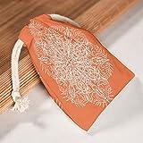 O1FHW-8 12er Set Orange Mandala Aufbewahrung auf Leinwand Kordelzug Tasche Langlebig Sachet Pouch Bag für Neujahr Hochzeit Geschenk Wrap - geometrie Thema Drucken white 20 * 25cm