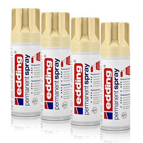 4x edding Permanent Spray hellelfenbein 200 ml Premium Acryllack, RAL 1015