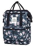 HotStyle DISA Fashion Blumen Damen Laptop Rucksack 12 Zoll (35x23x15cm) - Rose Grau