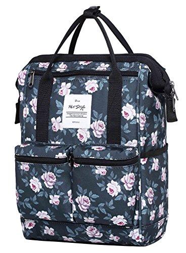 HotStyle DISA Fashion Blumen Damen Laptop Rucksack 12 Zoll (35x23x15cm), Rose Grau