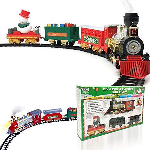 Train de Noël avec Ensemble de Moteur de Locomotive, Cargo Voitures, Morceaux et de Noël Spirit, Fonctionne avec Pile