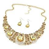 Sunnywill Gemischte Farbe in Böhmen Stil Bib Kette Halskette Ohrringe Schmuck für Frauen Mädchen Damen (C)