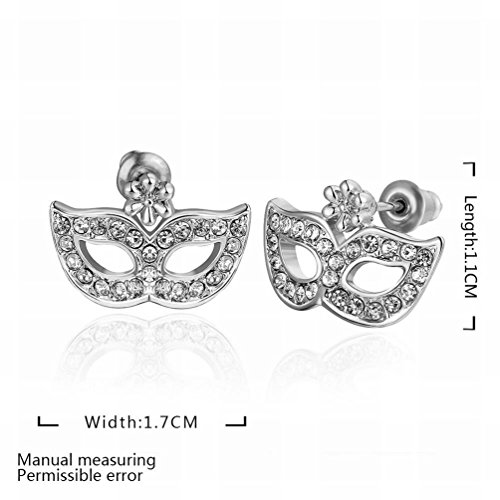 MOMO ein Paar Kleiner und Exquisiter Umweltschutz Wei?er Diamant Diamant Maske Ohrringe / Edelstahl / Anti-allergisch / Silber Blinkend / (Onyx Maske Feder Perle)