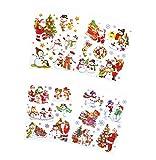 * 4 A4-Bögen (ca. 210 x 297 mm) wiederverwendbare farbige Fensterbilder für die Winter- und Weihnachtszeit mit Glitzer | selbstklebend | ca. 23 große Bilder und viele kleine Schneeflocken und Sterne | Weihnachtsmann Schneemann Teddy-Bär Schlitten