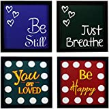 Indianara 4 Piece Set Of Framed Wall Hanging Motivational Office Decor Art Prints(1040) 8.7 Inch X 8.7 Inch Without Glass