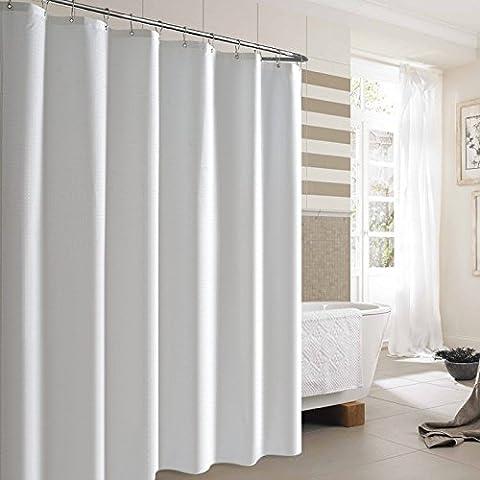 Norcho 180x180CM Cortina de Baño de Tela Impermeable Resistente al Moho Cortina de Ducha del color Blanco con 12 Anillos