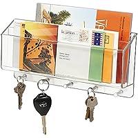 mDesign organizzatore posta chiavi diviso per casa, ufficio, cucina, ingressi - Da parete, Trasparente
