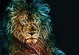 VLIES Fototapete-LÖWE-368x280cm-10 Bahnen-(3631V10)-Inkl. Kleister-EASYINSTALL-PREMIUM-Tapete XXL Foto-Mural Bild Poster Tiere Afrika Savanne Dschungel Bäume Strand Sonne Wald Steine Natur Landschaft