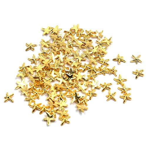 (sourcing map 100pcs Gold Seestern Form DIY 3D Nägel Kunst Scheiben Schmuck Tipps Dekoration)