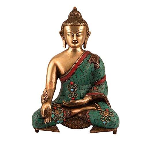 Piedras preciosas de trabajo – 27,94 cm alto grande tibetano estatua de Buda – aojo de latón escultura de bronce latón tibetano – budismo medicina figura CraftVatika