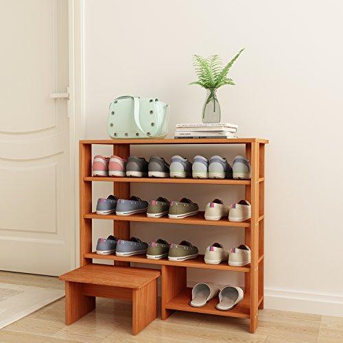 DL furniture Schuhschrank aus massivem Holz, Espresso-Finish, Holz, 4 Tier Natural Wood Tone, 4 Ablagefächer (Espresso-holz-schuh)