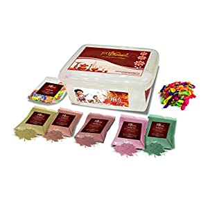 HOLI GULAL COLOURS PACK containing 5 organic herbal gulaal (150gm each) and 170+ water balloons