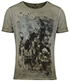 Key Largo Herren T-Shirt Washington Totenkopf Skull Print Motiv Vintage Look Tiefer Rundhals Ausschnitt taillierte Körperbetonte Passform MT00100, Grösse:L, Farbe:Grün
