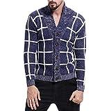 Herren Verdicken Langärmelige Herbst und Winter Silm-fit Mode Sweatershirt(L,dunkelblau)