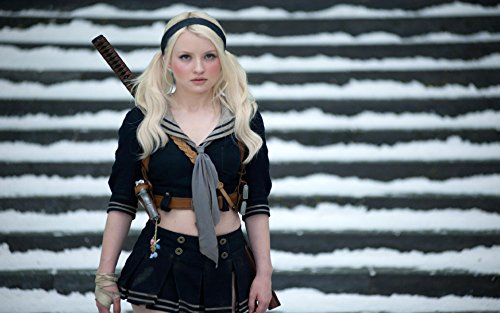 Akhuratha Designs Wall Poster a/emily-browning-blondes-women-katana-school-uniforms-skirts-pigtails-sucker-punch