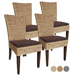 Casamia Lot de 4 chaises en rotin Cardin – Couleur : Blanc ou Marron – avec Coussins d'assise – Basalte – Taille Unique