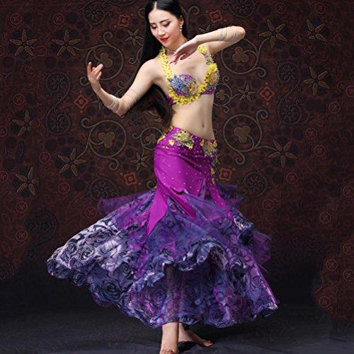 MoLiYanZi Professionel Bauch Tanzen Kostüm zum Frau Performance-Kleid einstellen mit Blume Strass, Yellow/Purple Orchid, ()