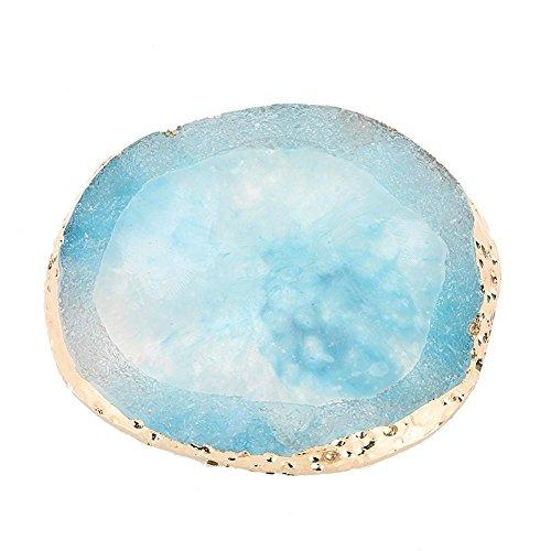 Naturharz Stein Nail Palettes, Farbpalette zeichnen Nail Mixing Palette mit Goldrand für Nagel DIY Design Nail Art, Nagellack Make-up Pallete Nail Art Polnisch Tool(Blau) (Gel-nagellack-sets Großhandel)