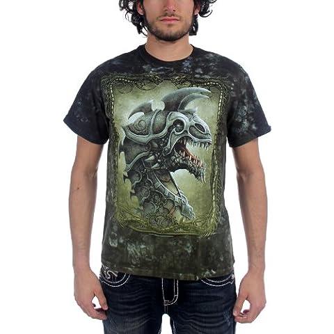 Fantasy Battle Dragon-Maglietta adulto con arriccio In percalle, colore: verde scuro
