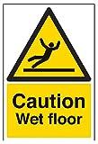 vsafety 63003au-s Caution Wet Floor Achtung Allgemeine Schild, selbstklebend, Portrait, 200mm x 300mm, schwarz/gelb