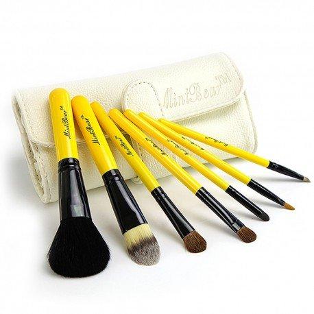 Kit de 7 pinceaux maquillage basiques Travel kit - Jaune