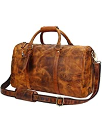 Rustic Town Cuir traditionnel fait main de qualité supérieure Sac de Voyage en Cuir Bagage à main Bagage Cabine style Vintage et Antique Pour Les Voyages et les Sports Un Cadeau de L'Artisan Indien. …