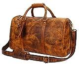 Rustic Town groß Leder Reisetasche - Carry On Vintage Umhängetasche Duffel Bag Weekender Tasche für Herren und Damen (Braun)