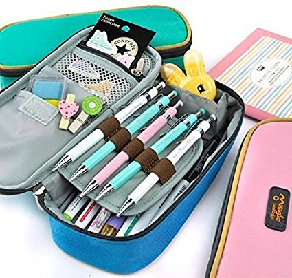 Rashen (TM) Grand Trousse de Rangement à crayons de maquillage Pochette sac à fermeture éclair (vert)