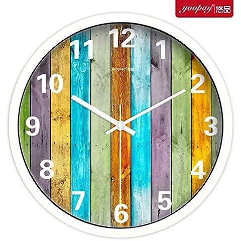 XB.T Halloween, Navidad regalos creativos Continental Reloj de pared de madera y un elegante salón muro de silencio minimalista moderno relojes de cuarzo idílico ,12 en caja