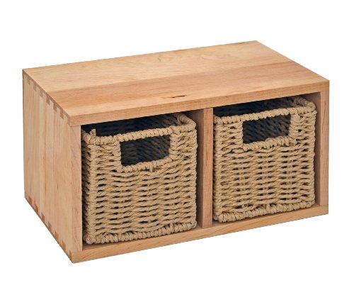 ts-ideen Regal Wandregal Board mit zwei Körben aus Walnuss Massivholz für Bad, Wohnzimmer, Sauna, Flur, Diele, Küche, Büro und Kinderzimmer