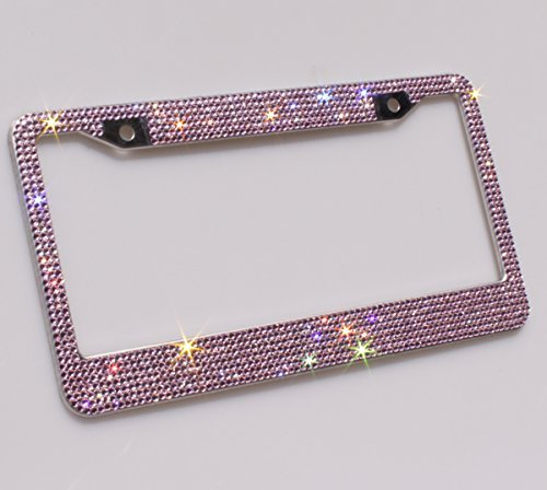 Carfond 7 Row Handcrafted Sparkling Shining Crystal Diamond Stainless Steel Metal License Plate Frame 2 Holes Bonus Matching Screws Caps (Pink crystal) by Carfond