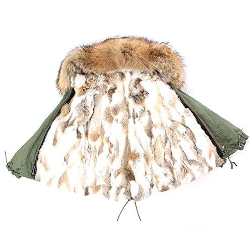 PARKA XXL Kragen aus 100% ECHTPELZ ECHTFELL Jacke Mantel Khaki Beige Nude KURZ (S / 34) (Pelz Kaninchen Damen Jacke Mantel)