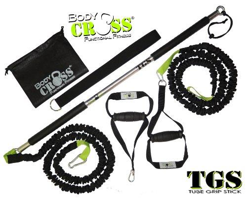 Tube Grip Stick (TGS) | Widerstandstraining (Rip-Training) 24kg Zugkraft | inkl. Karabiner, Adaption, Griff mit Fußschlaufe und Tragetasche | Komplettset für Functional Fitness Training