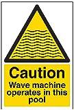VSafety 66006AU-S Vorsicht, Wellenmaschine arbeitet in diesem Pool Wasser Warnschild, selbstklebend, Portrait, 200 mm x 300 mm, Schwarz/Gelb