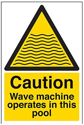 """VSafety 66006AU-S """"Vorsicht, Wellenmaschine arbeitet in diesem Pool"""" Wasser Warnschild, selbstklebend, Portrait, 200 mm x 300 mm, Schwarz/Gelb"""