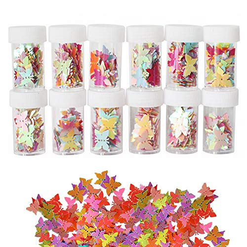 Simuer Butterfly Sequins Paillette Glitter, 12 Pack Slime Bead Supplies Shake Jars DIY Art Craft for Slime,Nail Art Polish,Decoration,Wedding Confetti