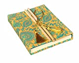 #5: DI-KRAFT Handmade paper Bamboo lock Designer Yellow & Green cover Diary/Notebook, 120 gsm