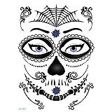 axusndas - Adhesivos de Cara Temporal para Halloween, diseño de Calavera de azúcar, diseño Floral, para Disfraz de araña, Sangre, Cicatrices, murciélagos, 04#