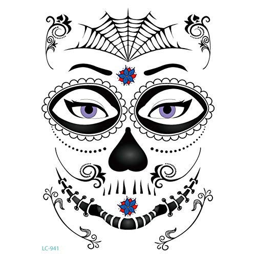 ZHONGYU Temporäre Gesicht Tattoo Kit, Maskerade Tag der Toten Skelett Schädel Full Face Makeup Tattoos Aufkleber Halloween Dekor Requisiten für Mädchen Damen